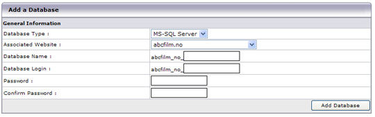 Opprett MS SQL database
