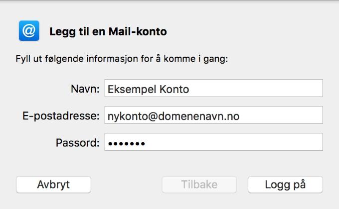 1974ebe3 Sørg for at e-postadresse og brukernavn er riktig. Disse skal være like!  Velg kontotype «IMAP» og skriv inn følgende som både innkommende og  utgående ...