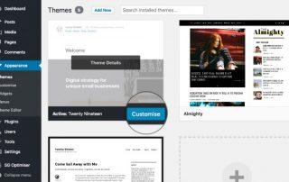Konfigurasjon av tema i WordPress